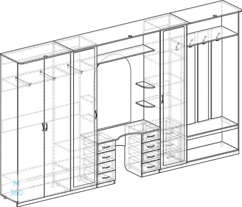 Распашной шкаф на заказ Арт 11