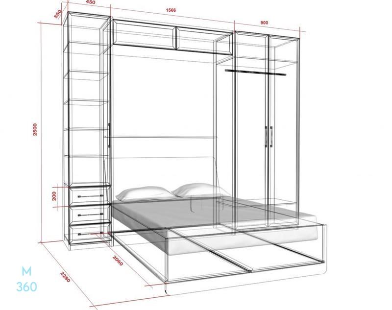 Шкаф-кровать трансформер на заказ Арт 4
